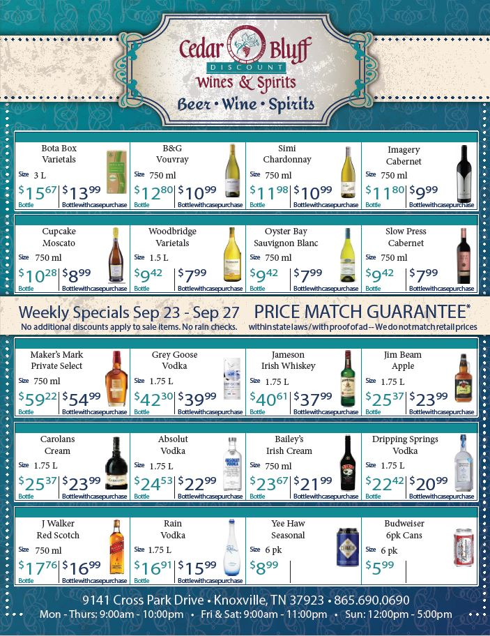 Cedar Bluff Wines & Spirits Weekly Specials